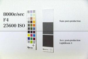 Voici le résultat du bruit avec et sans corrections à partir d'une photo au format RAW et traitée dans Adobe Light-Room 4