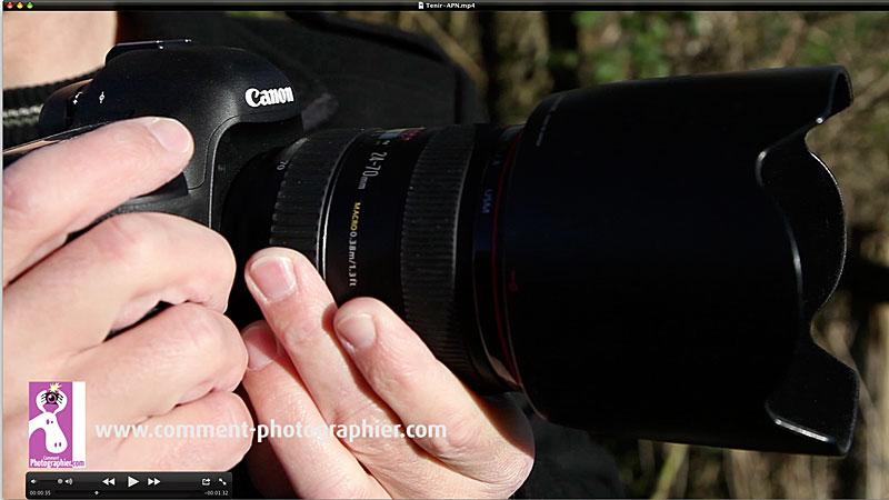 Voici la position recommandée des mains sur l'appareil photo reflex.