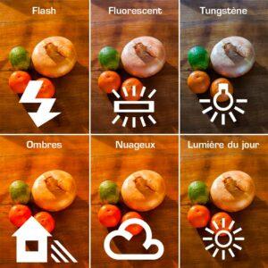 Différents réglages de balance des blancs sur une image qui est faite au flash