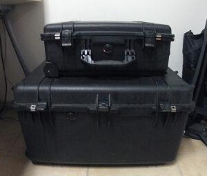Voici mes deux valises Pelicase pour vous donner un ordre de grandeur.
