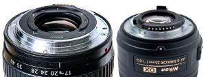 Voici la comparaison de la taille de la baïonnette d'un objectif CANON 24x36mm avec une optique DX NIKON pour APSC