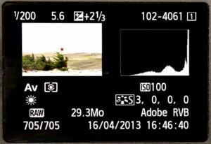 Voici l'histogramme d'une image surexposée, trop claire, toute la courbe est à droite.