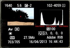 Voici l'histogramme que l'on a au dos d'un appareil photo Canon, j'ai rajouté des explications en rouge pour sa compréhension.