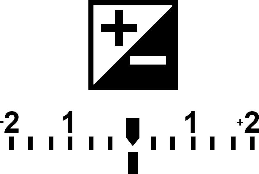 Voici le logo et l'échelle de correction de l'exposition de l'appareil photo