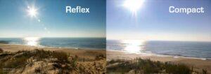 A gauche, dynamique d'un reflex et à droite, celle d'un compact