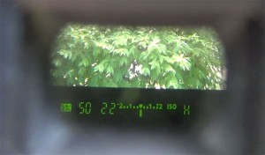 affichage des réglages dans le viseur de l'appareil photo