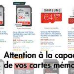 Attention avec la capacité de carte SD mémoire